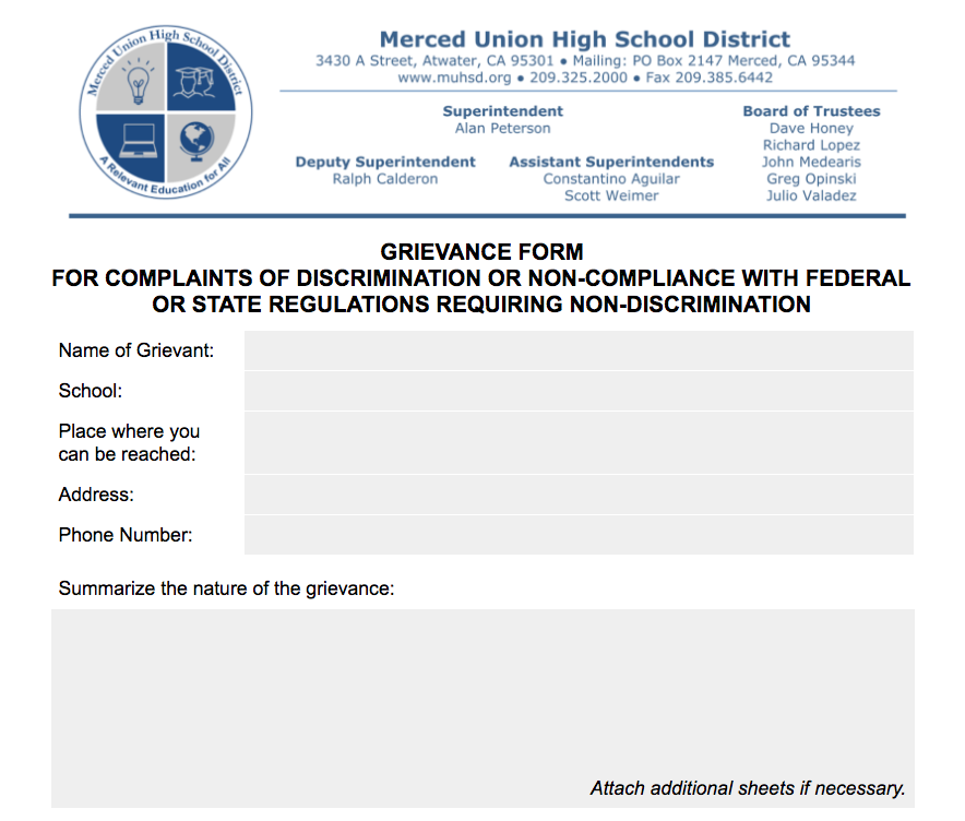 Image: MUHSD Uniform Complaint Form