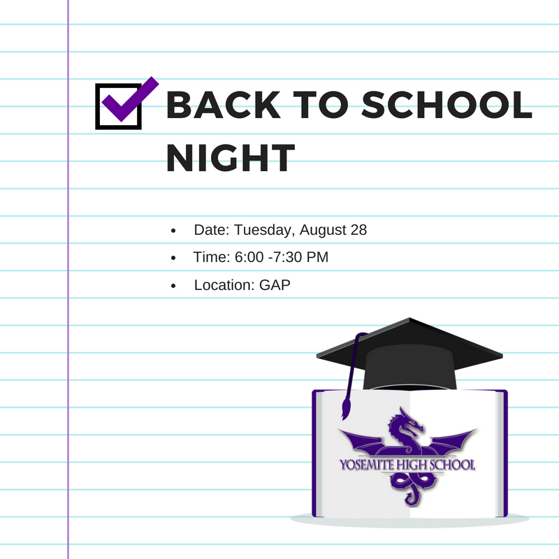 Back to School Night: August 29th, 2018 @GAP 6:00PM-7:30PM